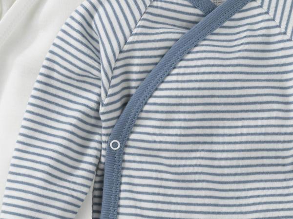 Langarm Wickelhemd aus reiner Bio-Baumwolle 2er-Set