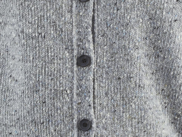 Tweed-Strickjacke aus reiner Schurwolle