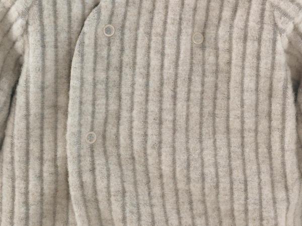 Wollfleece-Jacke mit Streifen aus reiner Bio-Merinowolle