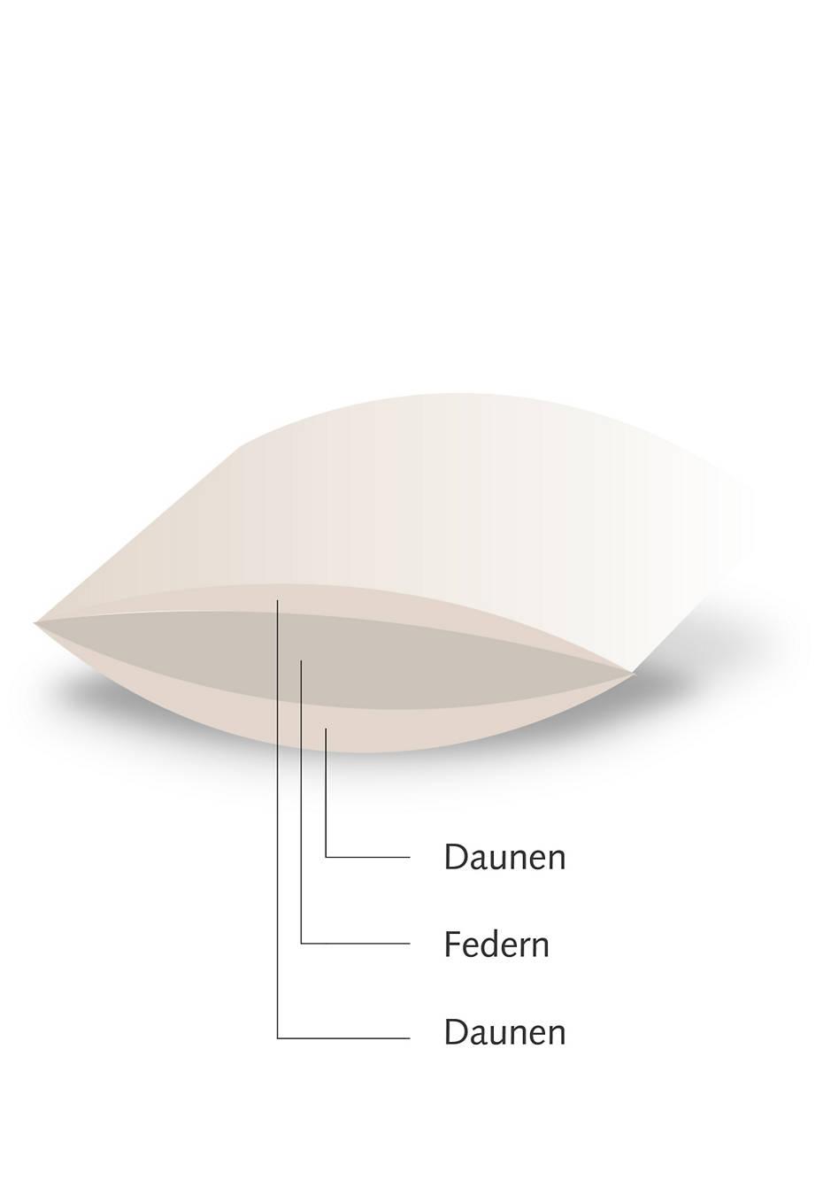 3-Kammer-Kopfkissen mit fairer Daune und Federn