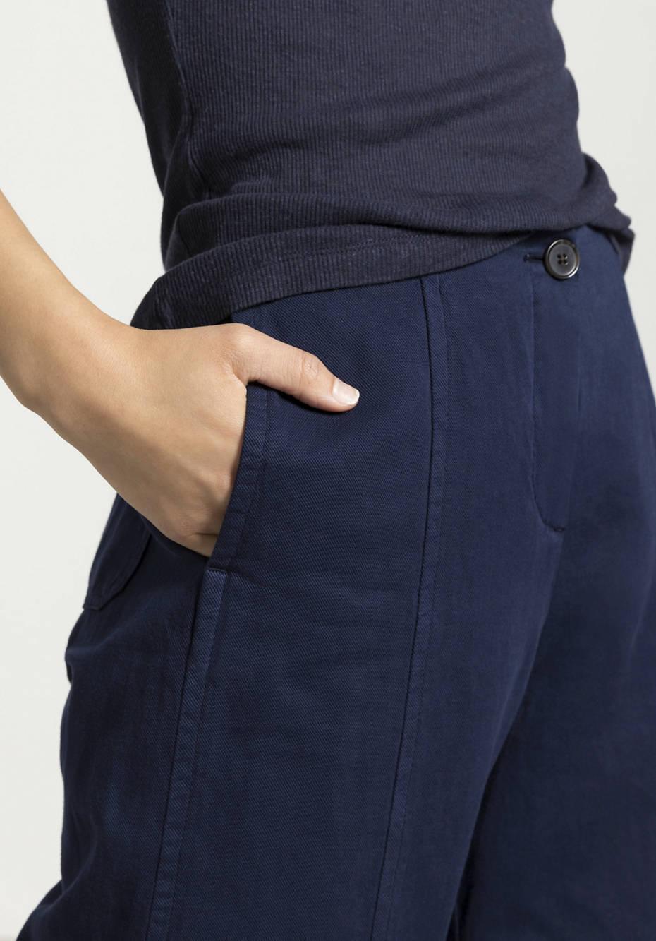 7/8-Hose aus Bio-Baumwolle mit Leinen