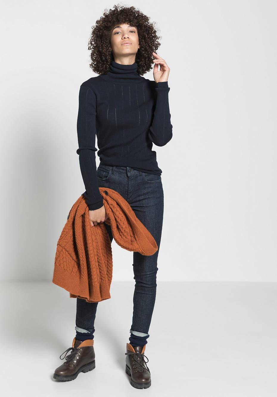 Ajour-Pullover aus reiner Bio-Merinowolle