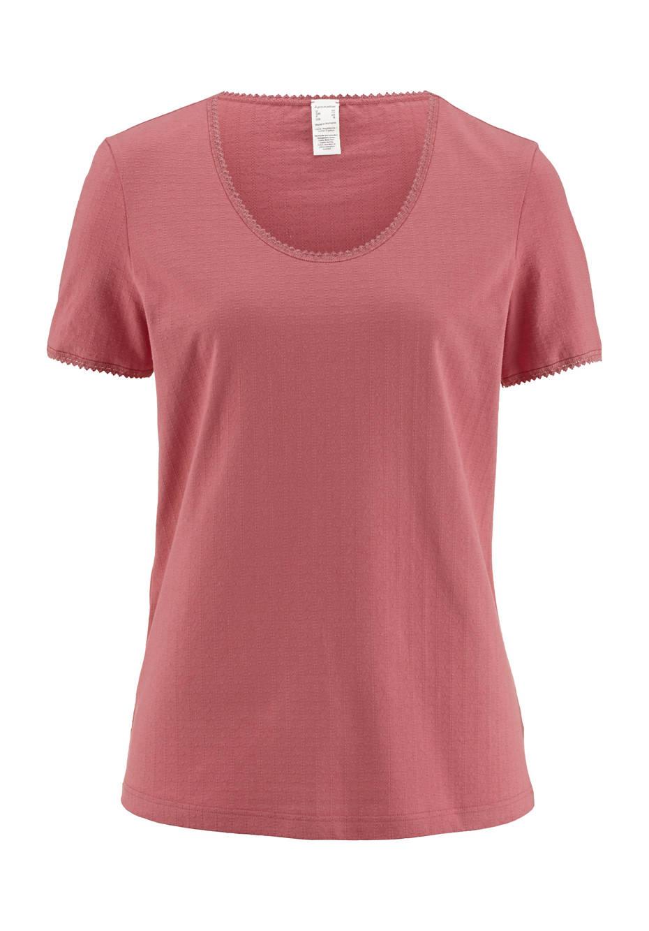 Ajour-Shirt Kurzarm aus reiner Bio-Baumwolle