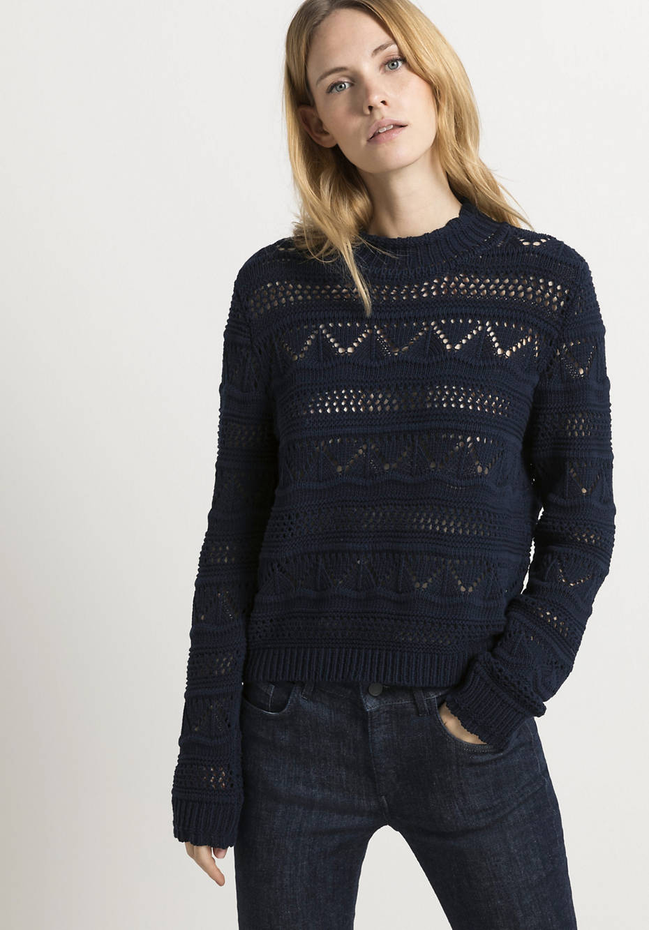 Ajour sweater made from pure organic cotton
