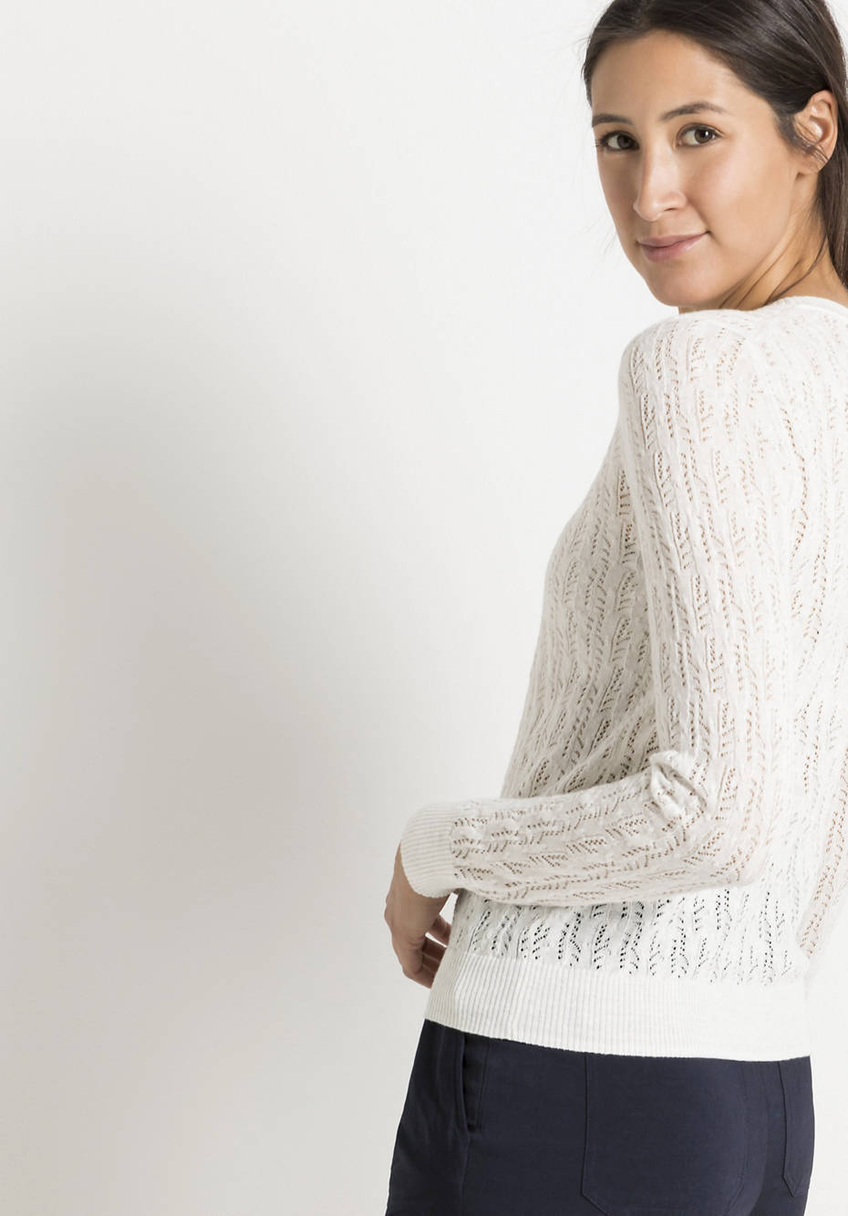 Ajour sweater made of hemp with organic cotton
