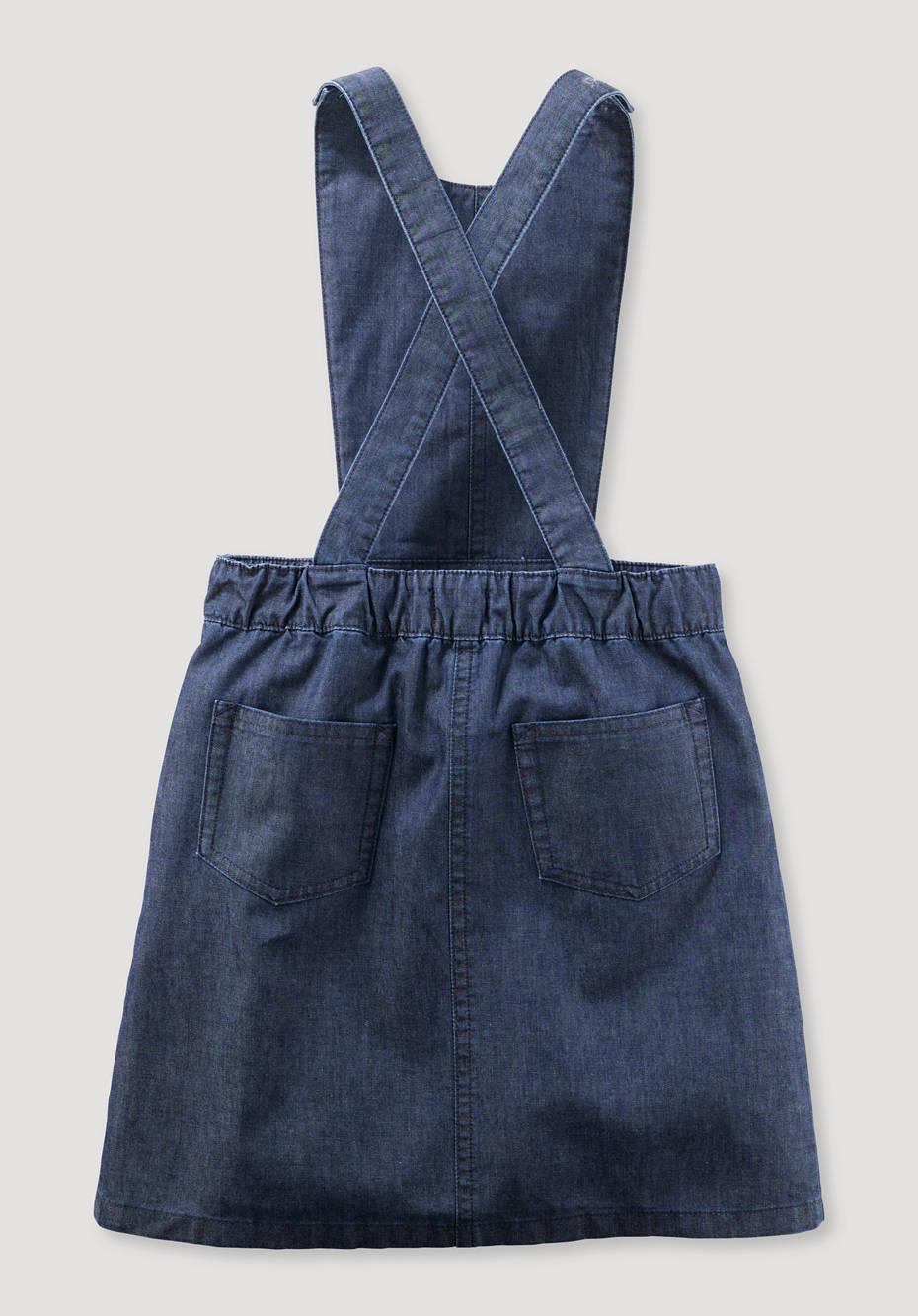 Bib dress made from pure organic denim