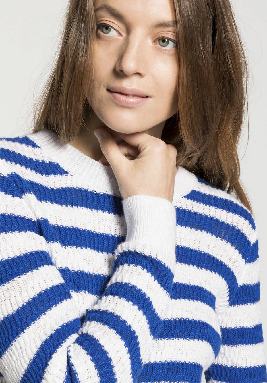 Block stripe sweater made of pure organic cotton