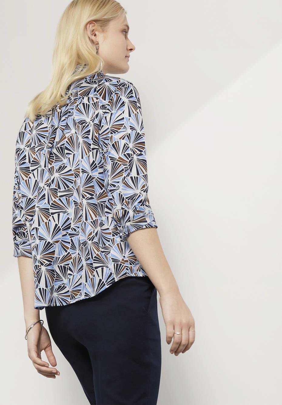 Bluse aus Baumwolle mit Seide