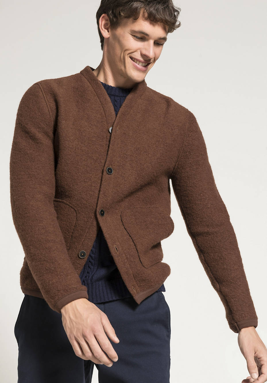 Boiled wool jacket with organic cotton