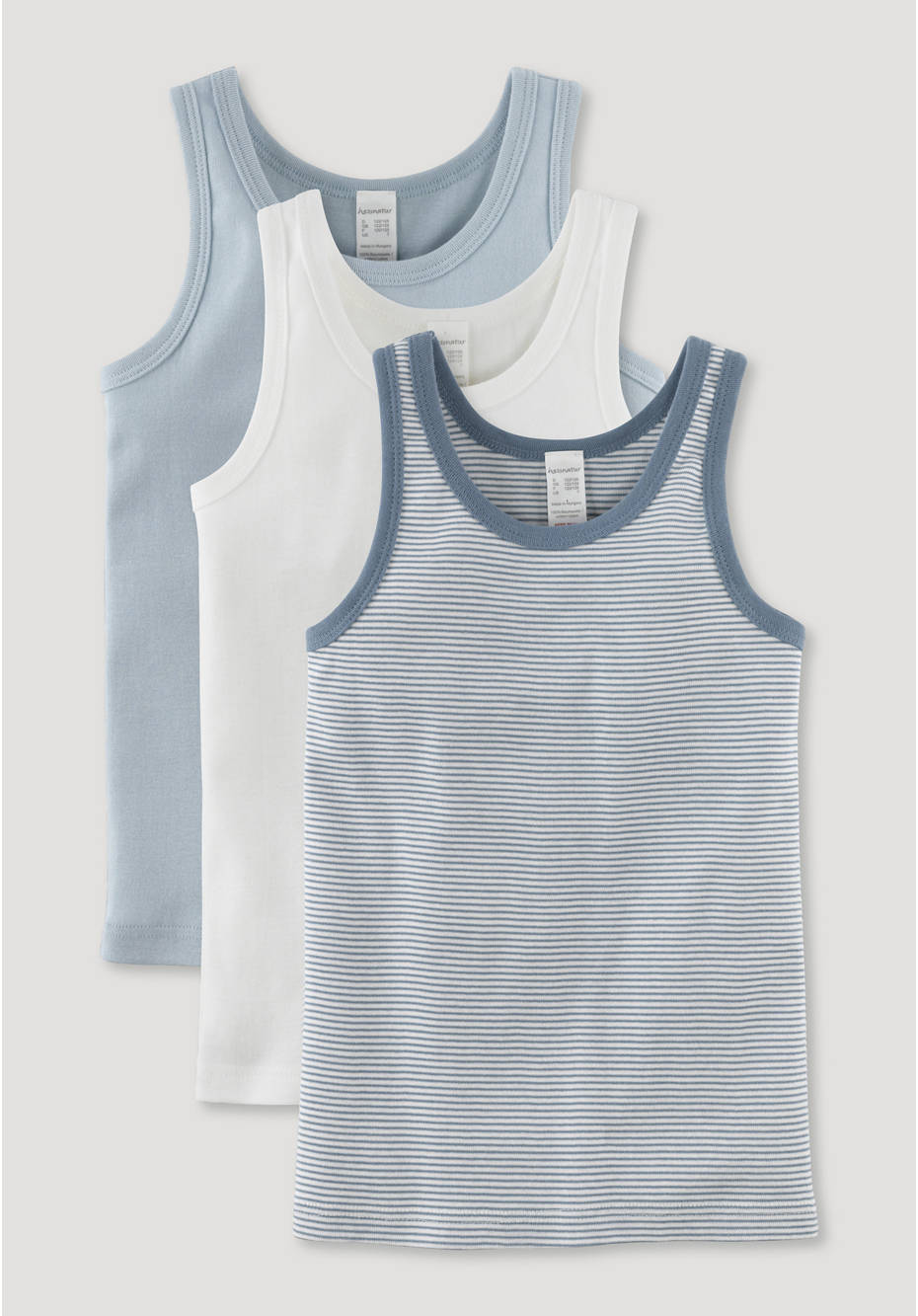 Boys undershirt, set of 3 made of pure organic cotton
