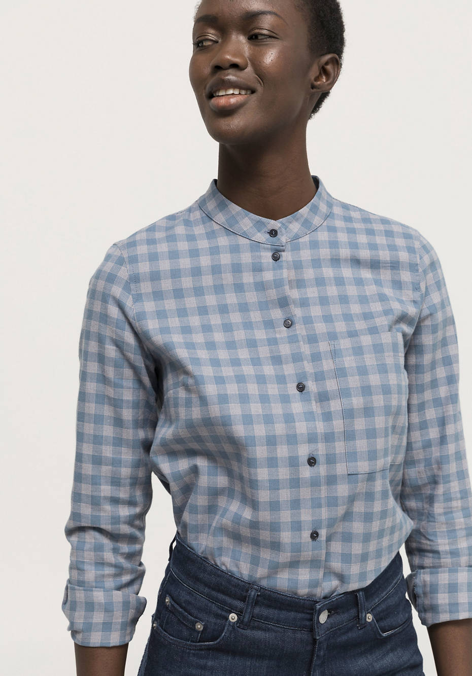 Check blouse made of pure organic cotton