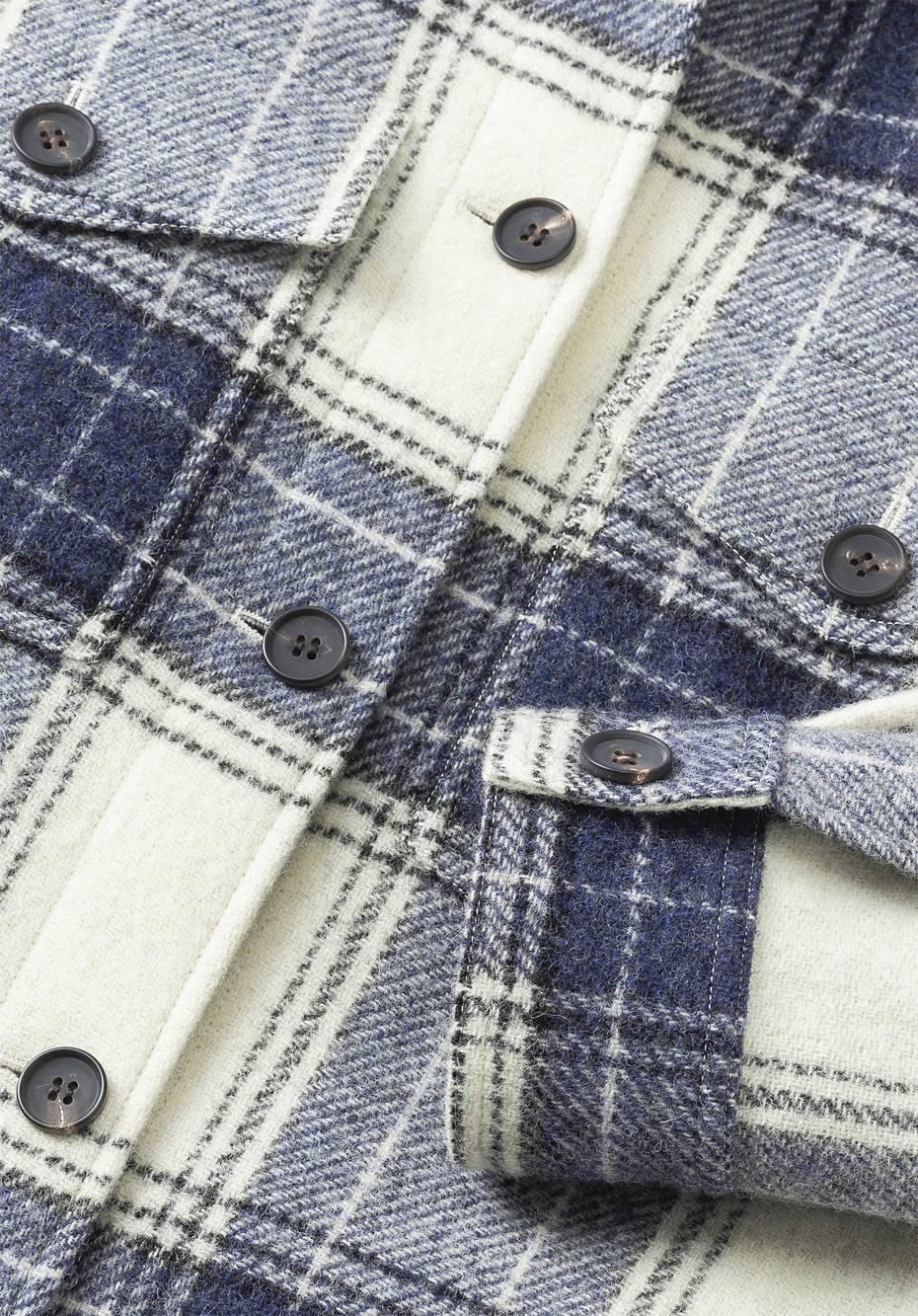 Check coat made of pure organic merino wool
