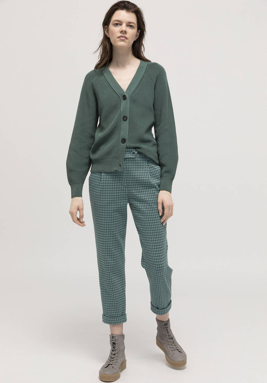 Checkered jersey trousers made of organic cotton