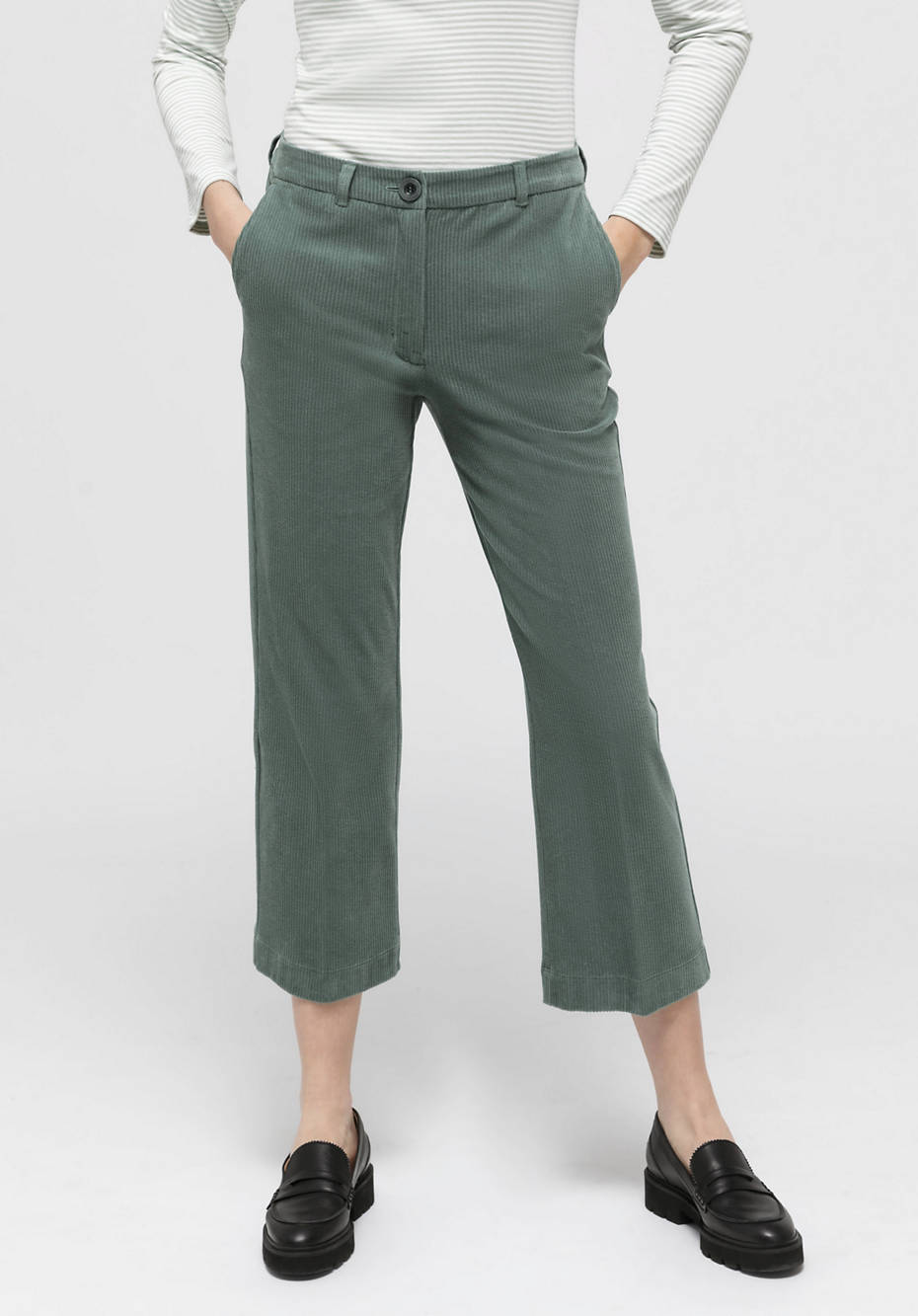 Corduroy trousers Cropped Flared made of pure organic cotton