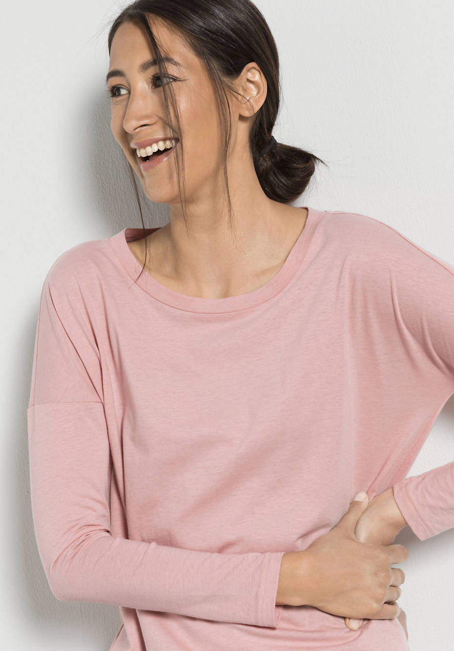 Damem Langarm-Shirt aus Bio-Baumwolle mit Schurwolle