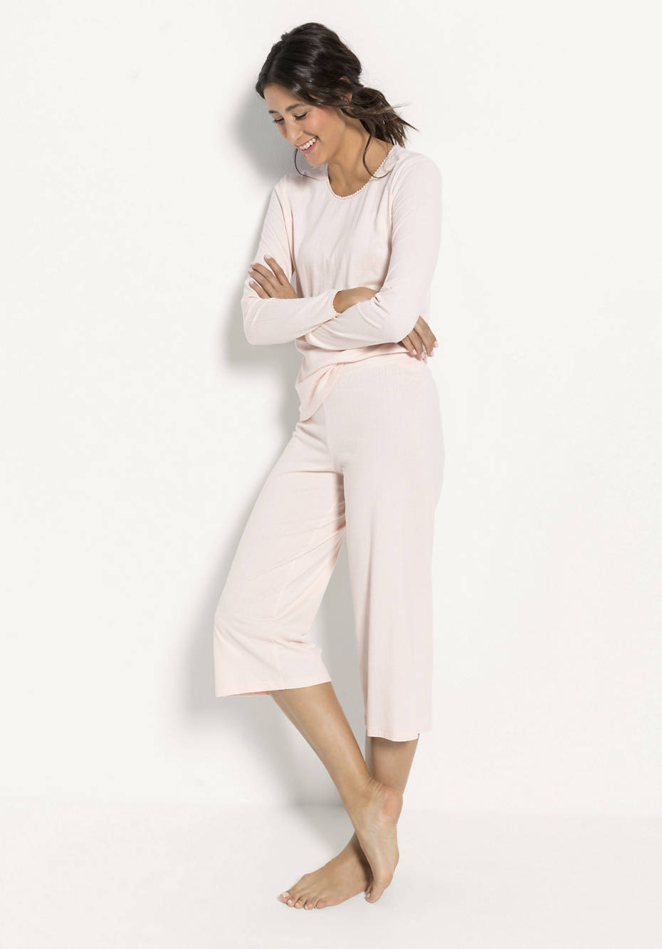 Damen Ajour-Schlafhose aus reiner Bio-Baumwolle