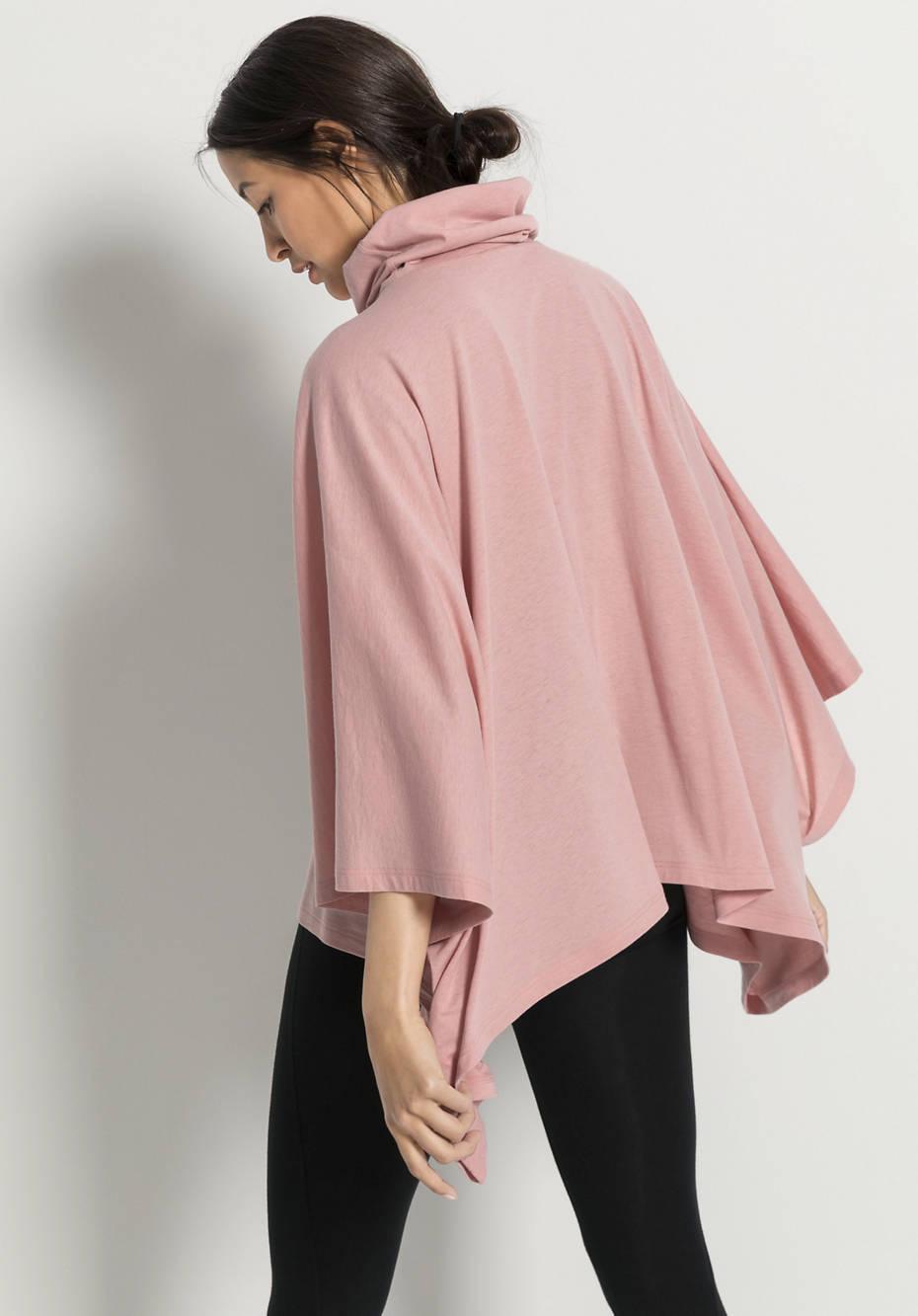 Damen Poncho-Shirt aus Bio-Baumwolle mit Schurwolle