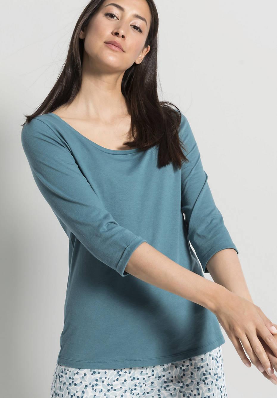 Damen Schlaf-Shirt aus Bio-Baumwolle mit Seide
