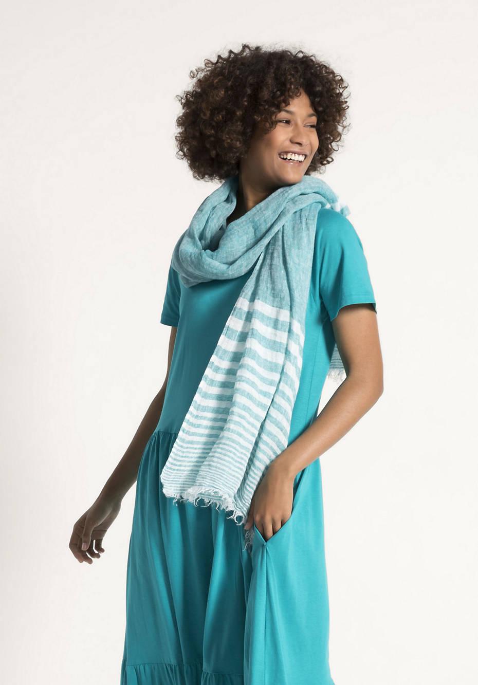 Degradé-Schal mit Streifen aus reinem Leinen