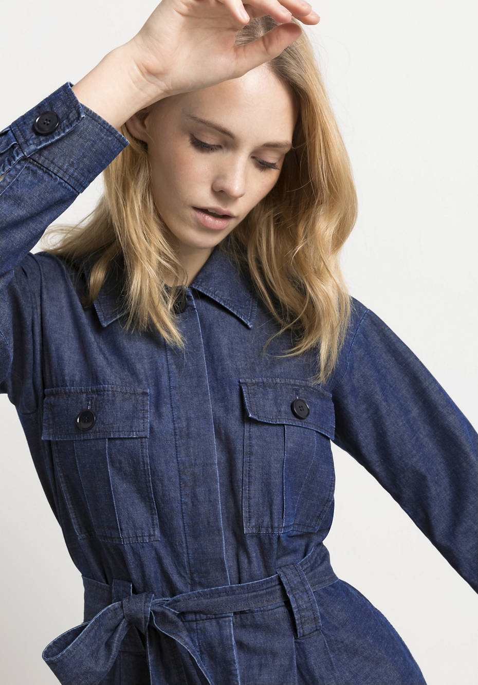 Denim overall made of organic cotton with linen