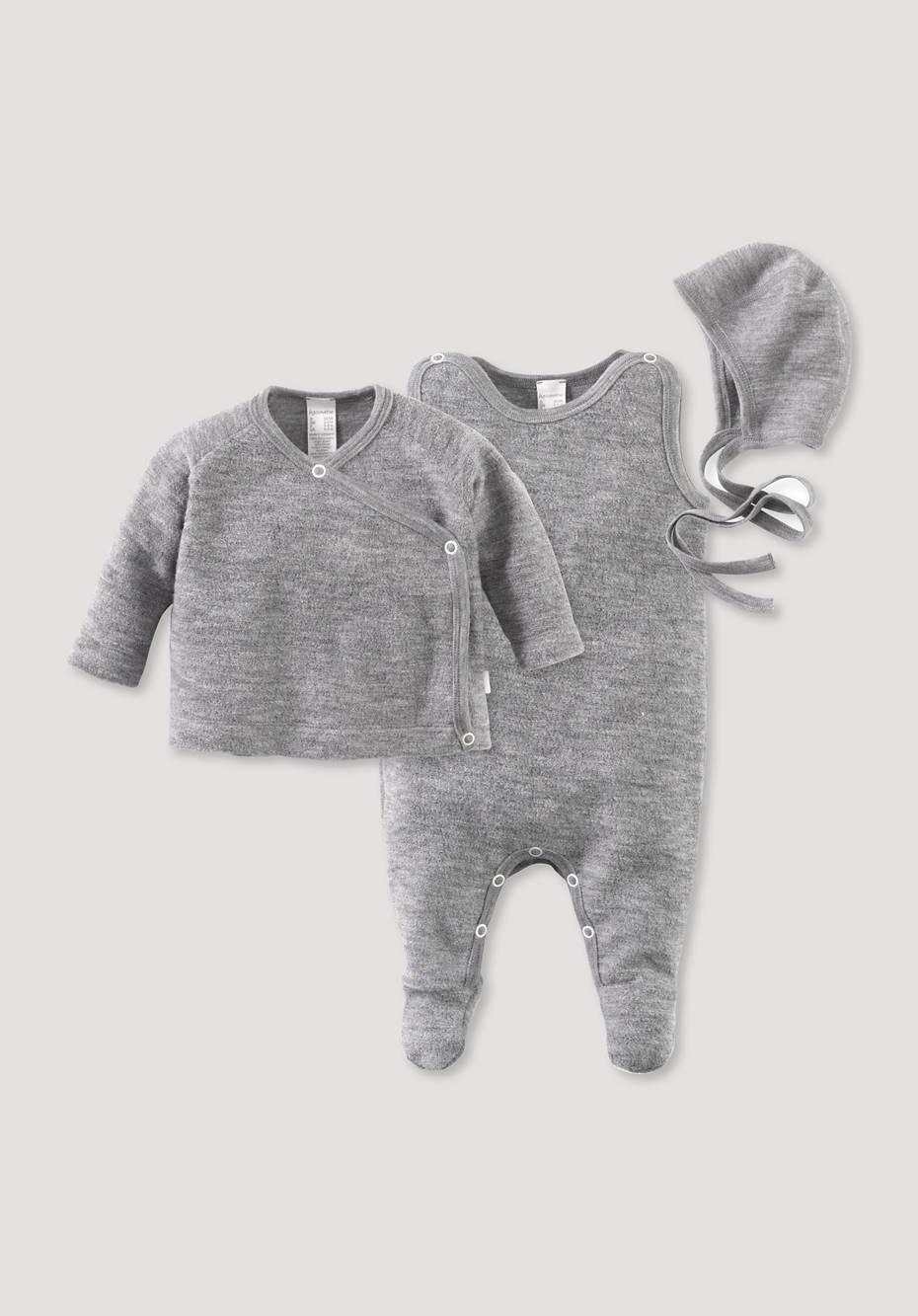 Baby ERSTLINGSPAKET WOLLFROTTEE AUS REINER BIO-MERINOWOLLE grau