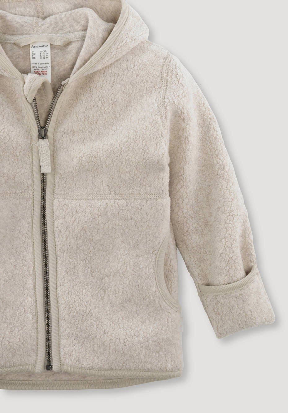 Fleece jacket made of pure organic cotton