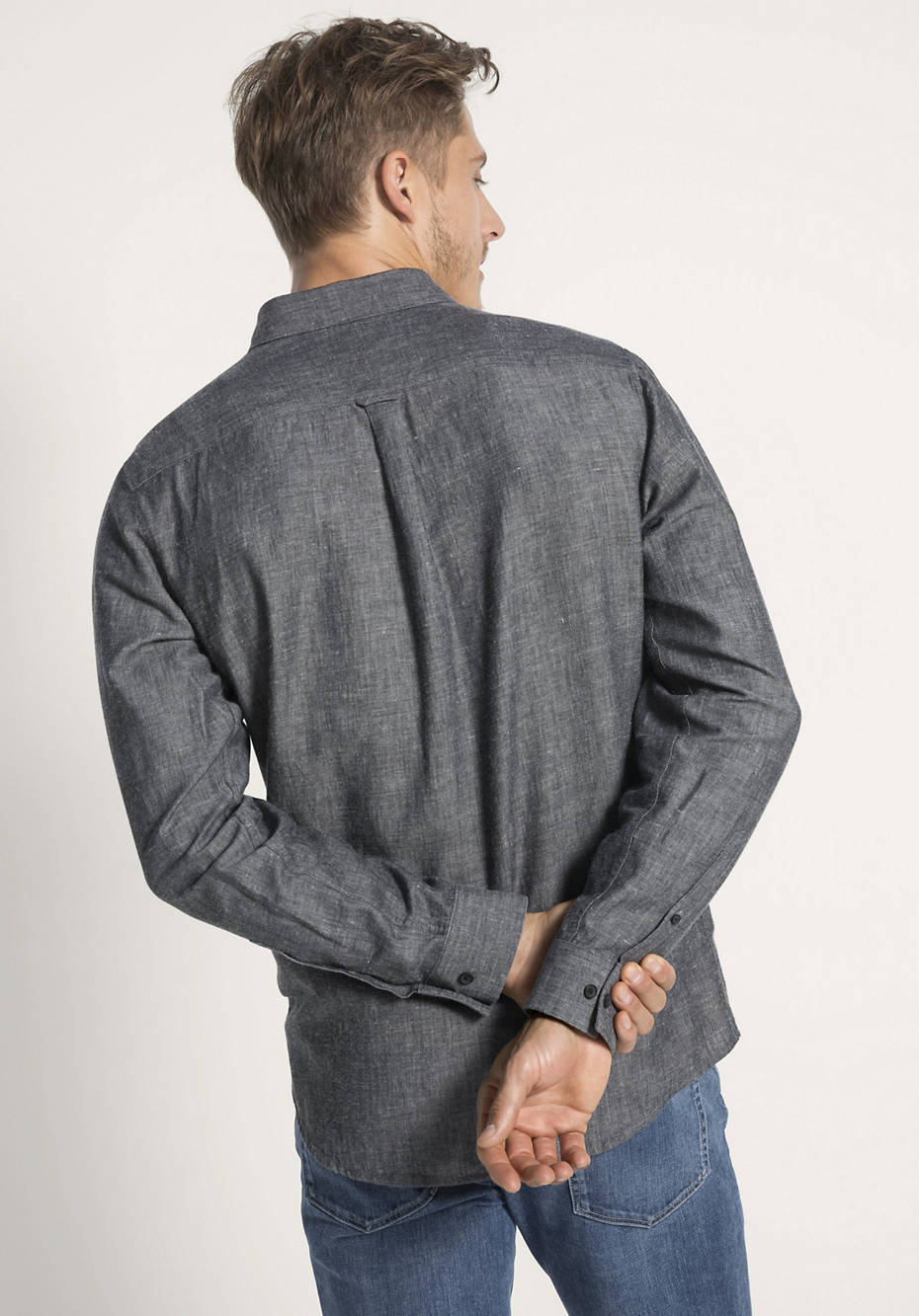 Hemd Modern Fit aus Bio-Baumwolle mit Leinen