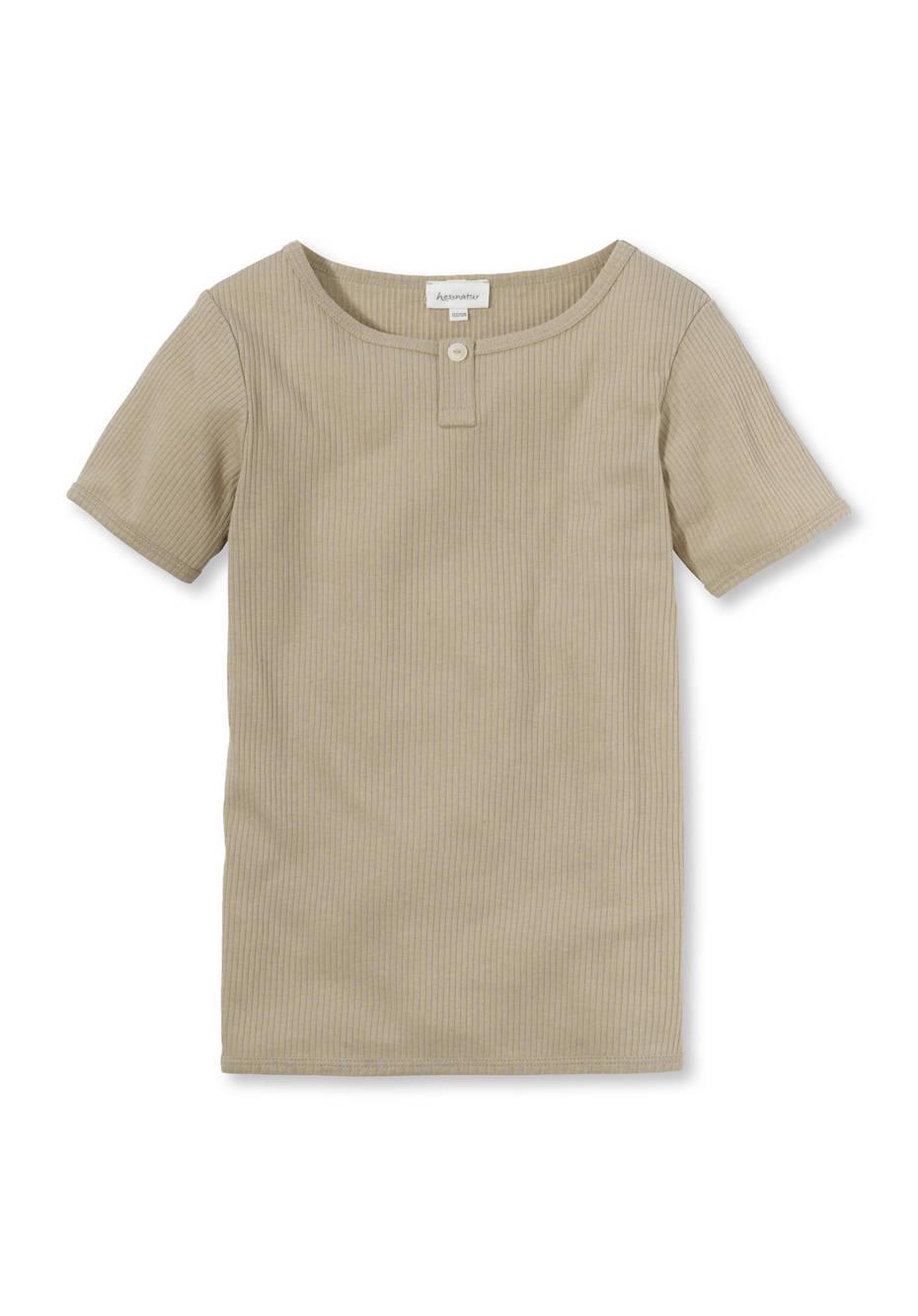Henleyshirt aus Bio-Baumwolle mit Bio-Schurwolle
