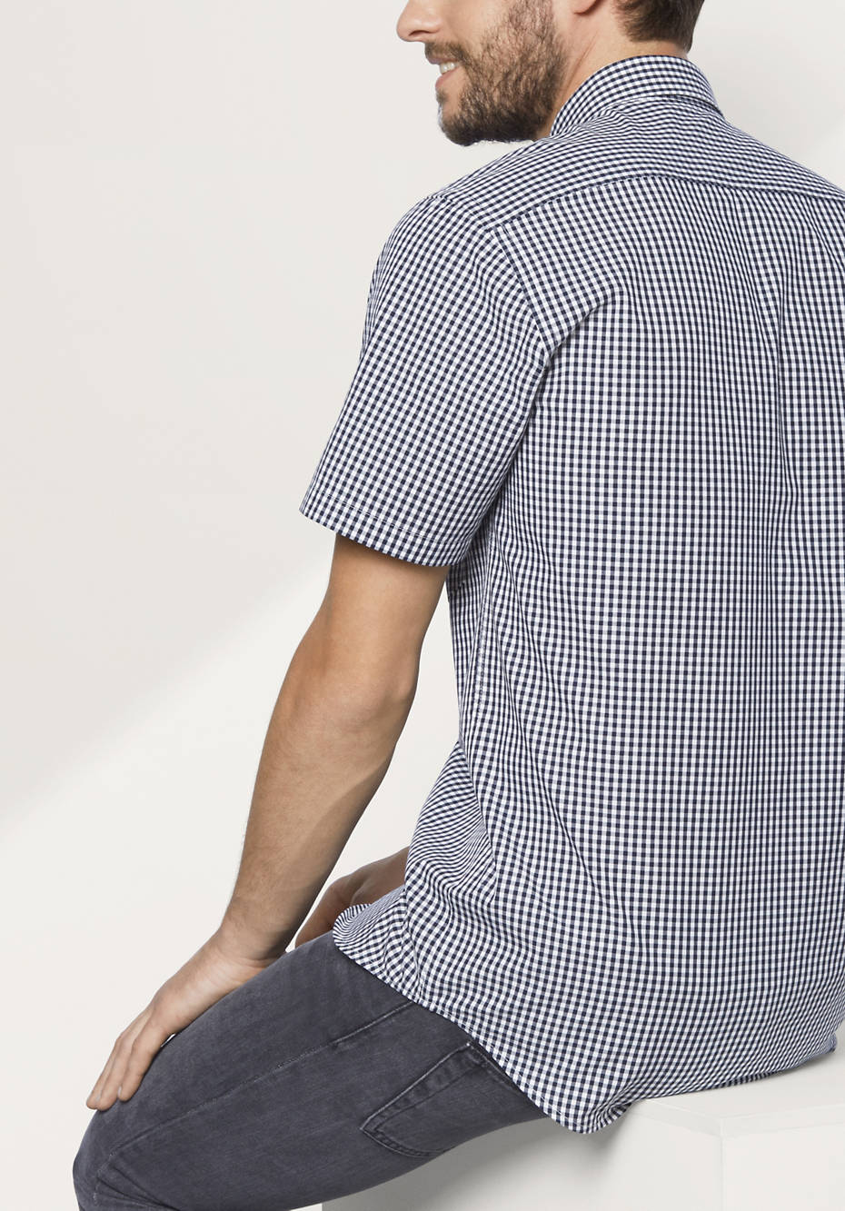 Herren Kurzarm-Hemd Modern Fit aus reiner Bio-Baumwolle