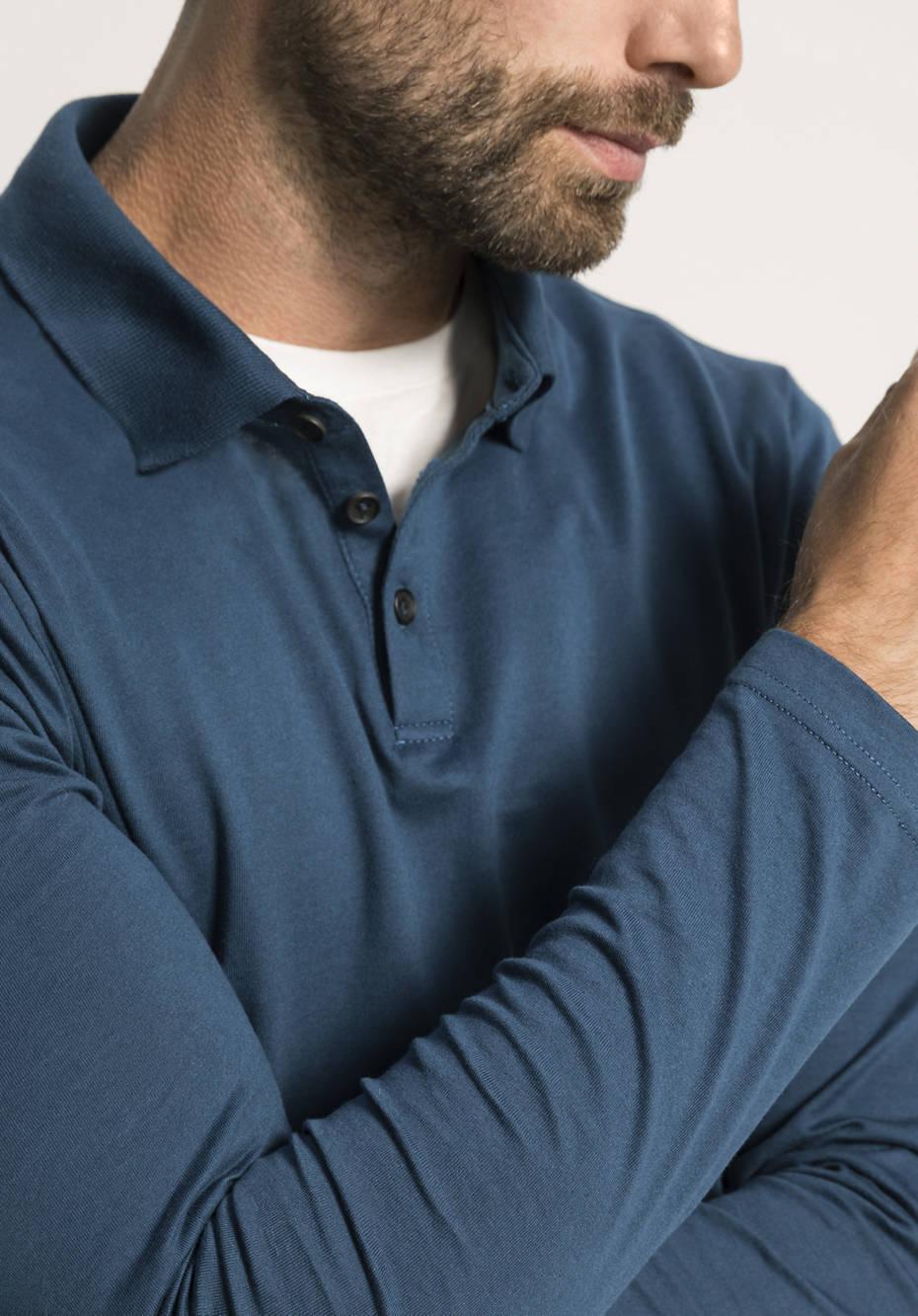 Herren Langarm Poloshirt aus reiner Bio-Baumwolle