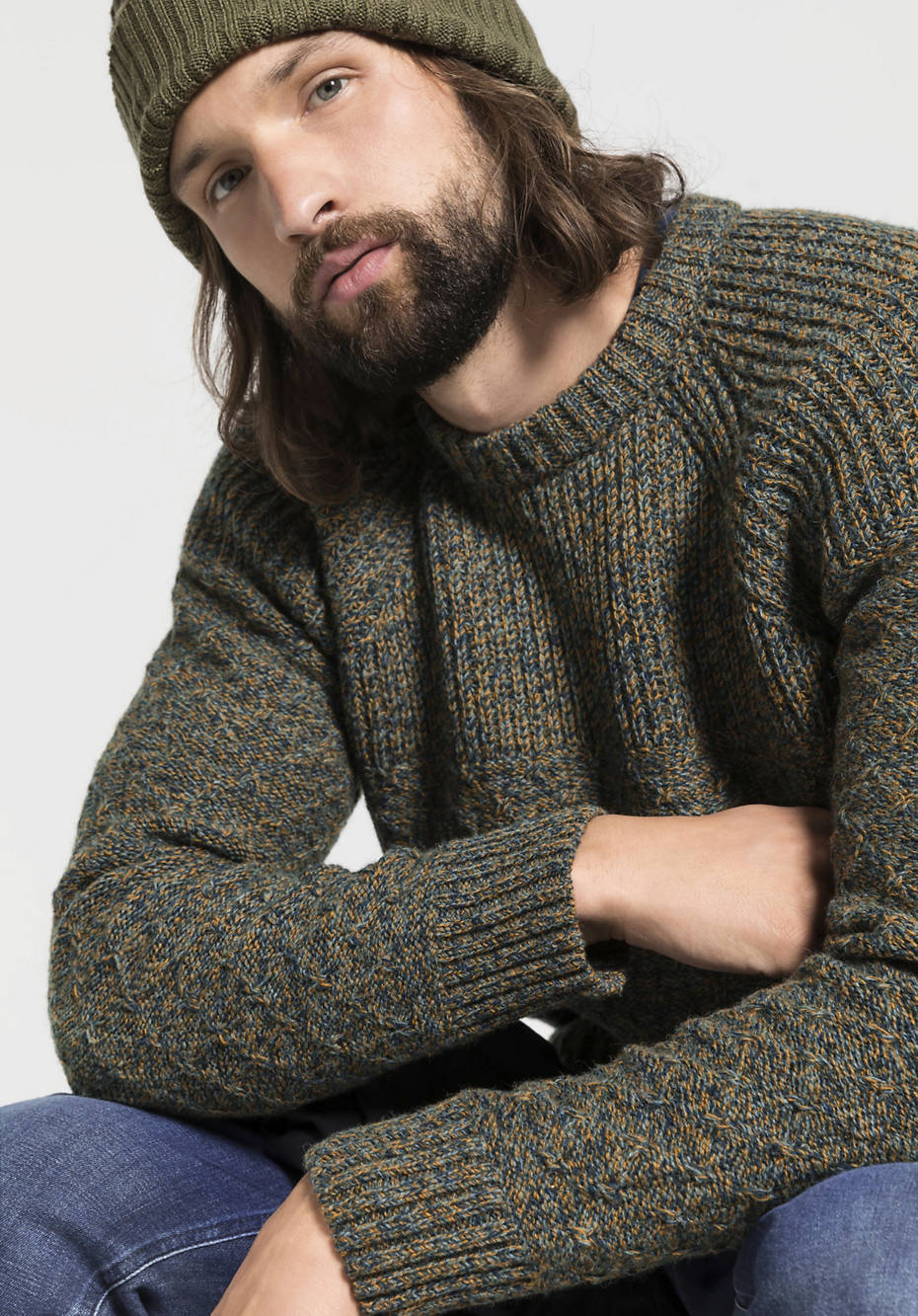 Herren Mouliné-Pullover aus reiner Schurwolle