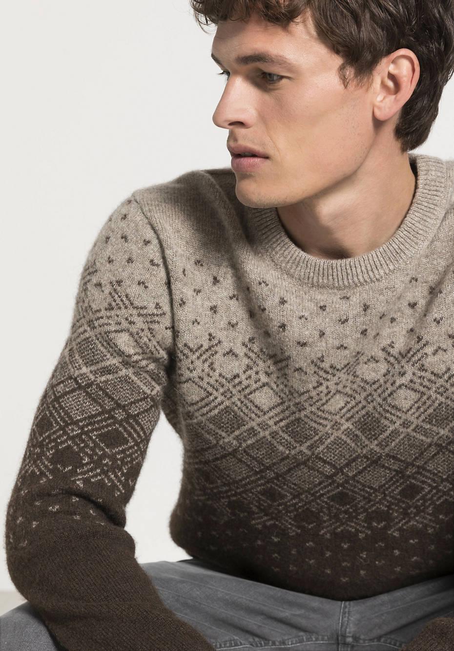 Herren Norweger-Pullover aus reiner Yakwolle