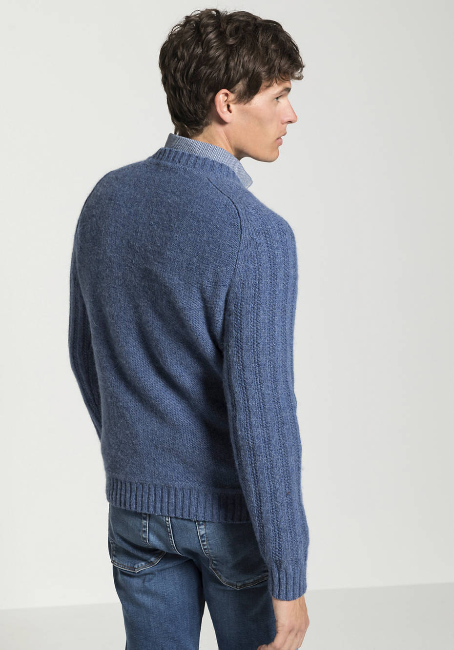 Herren Raglan-Pullover aus Merinowolle, Alpaka und Hanf