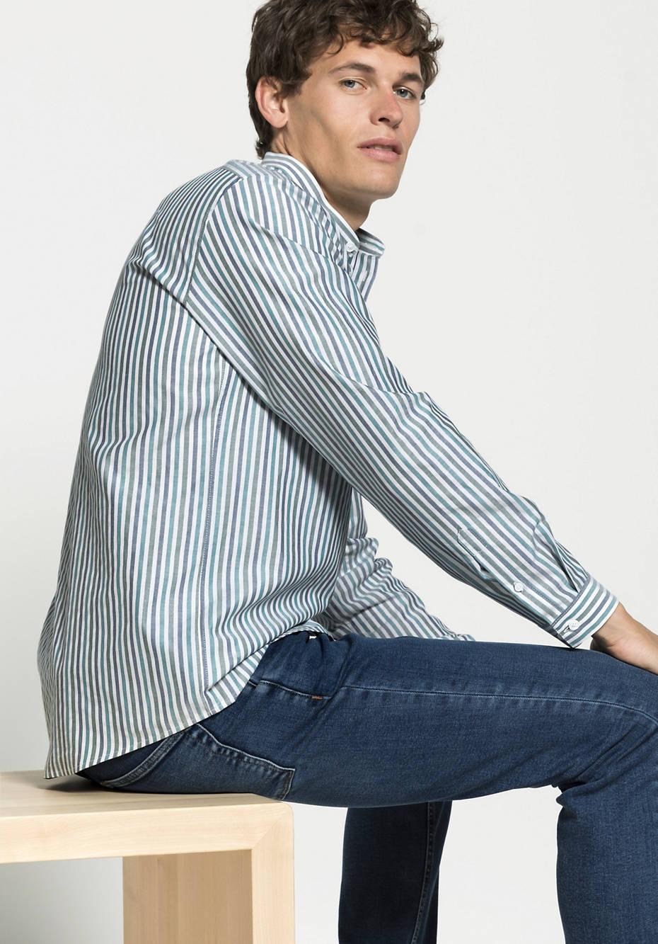 Herren Streifenhemd Comfort Fit aus reiner Bio-Baumwolle