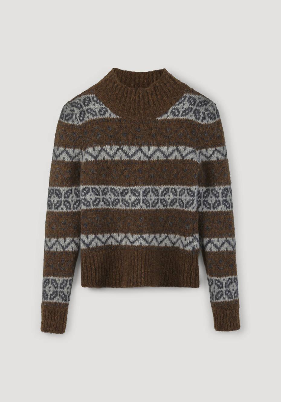 Jacquard-Pullover aus Alpaka mit Pima Baumwolle