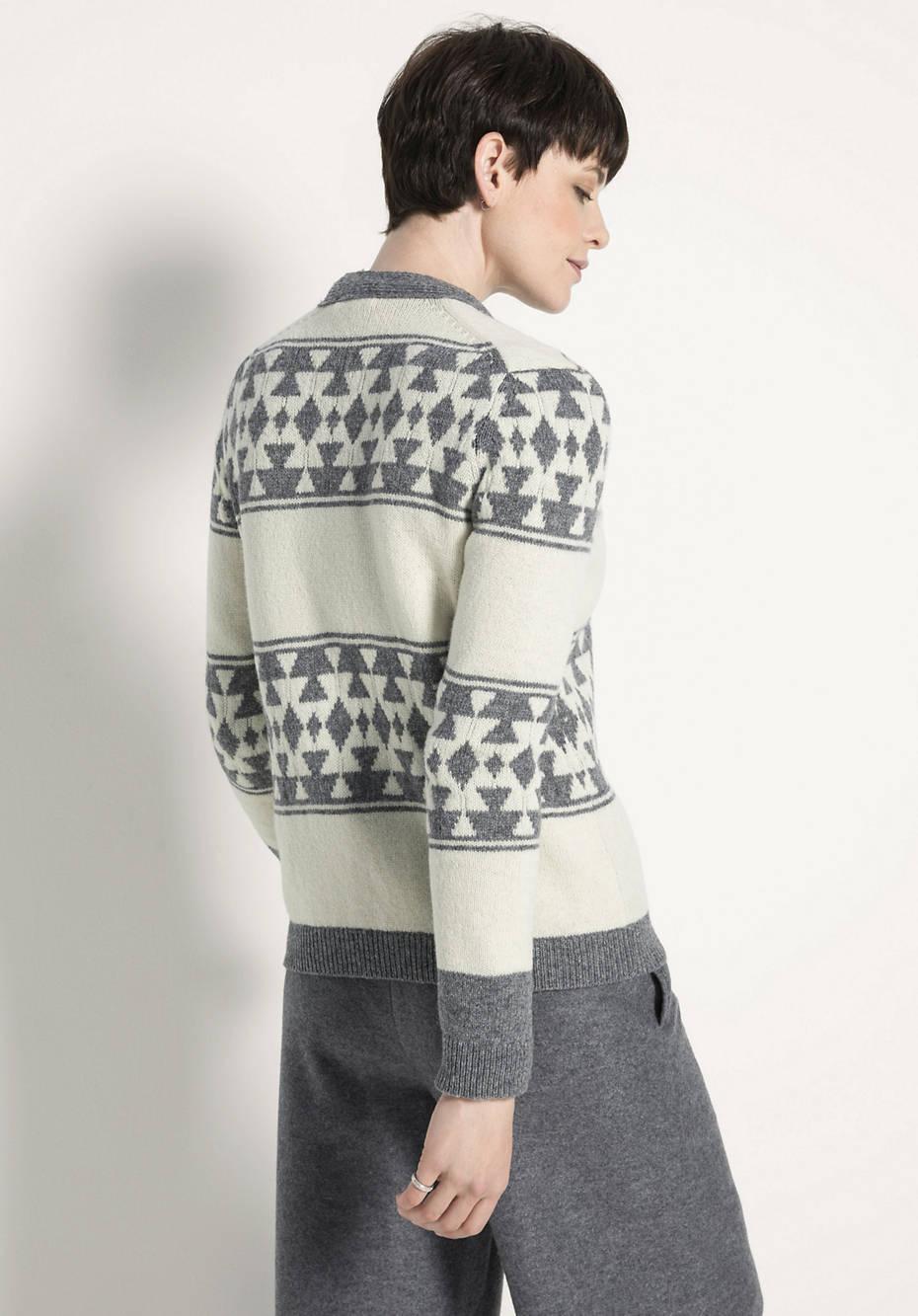 Jacquard-Strickjacke aus reiner Schurwolle