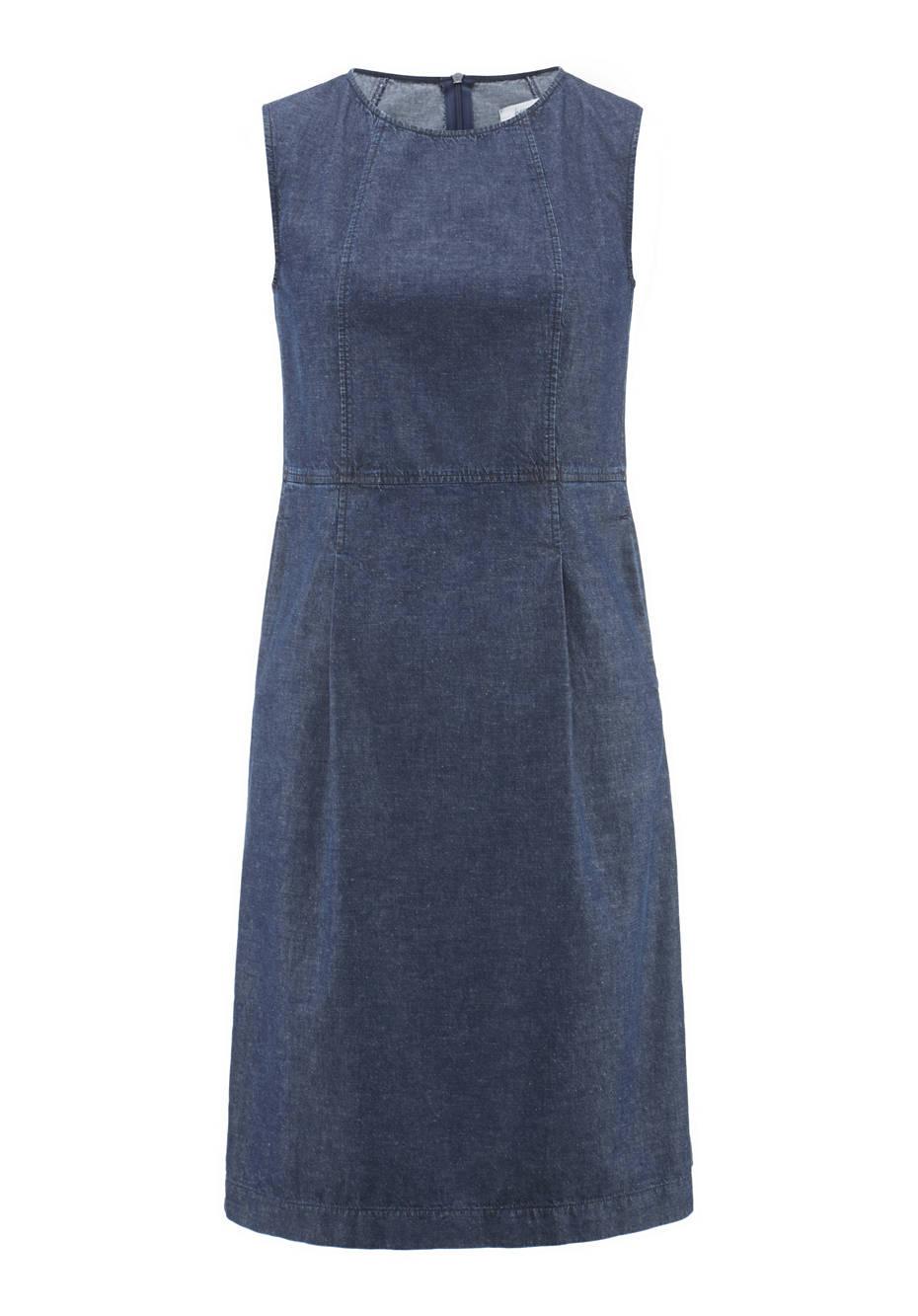 Jeanskleid aus Bio-Denim mit Leinen
