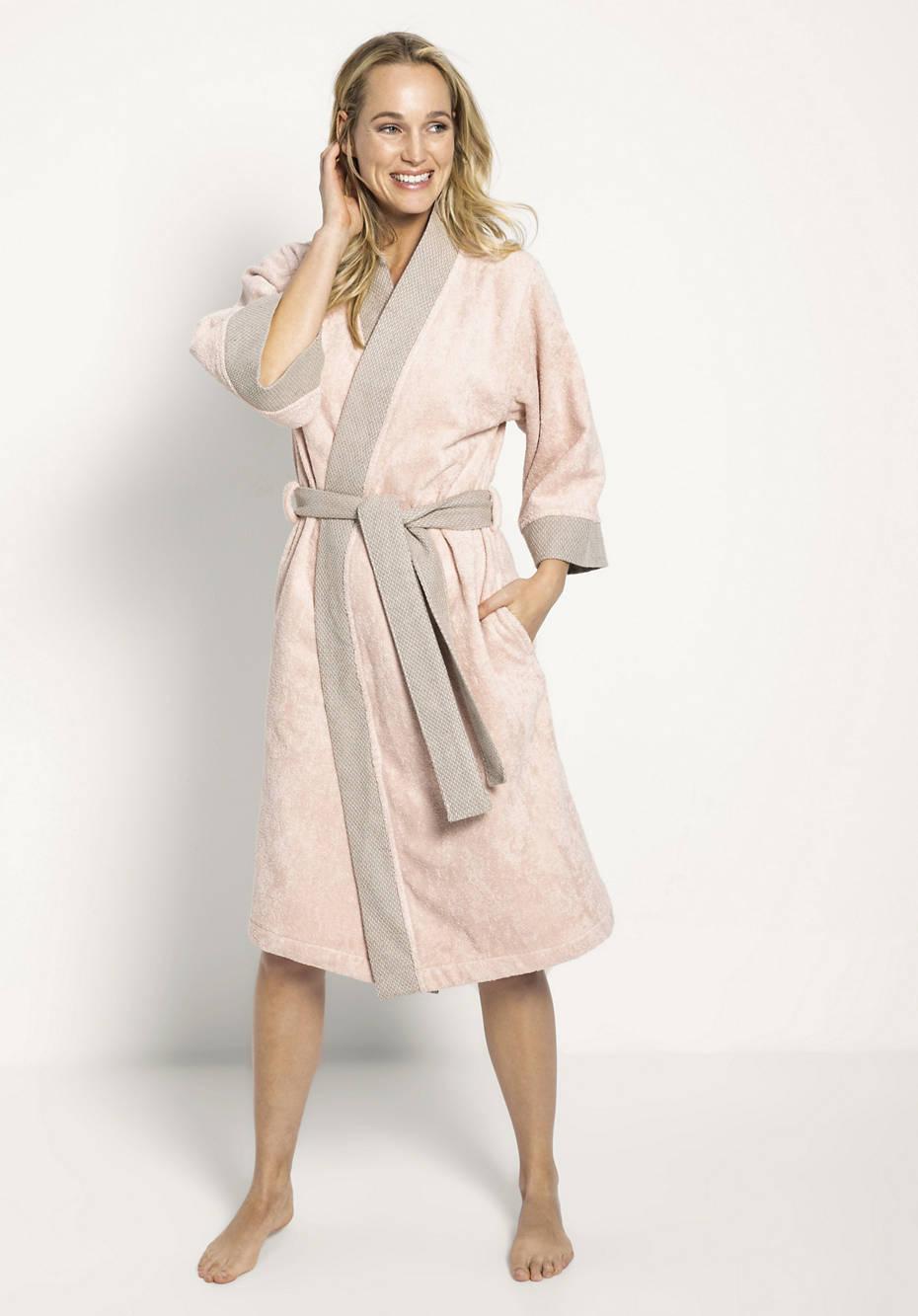 Kimono-Bademantel aus Bio-Baumwolle mit Leinen in der Bordüre