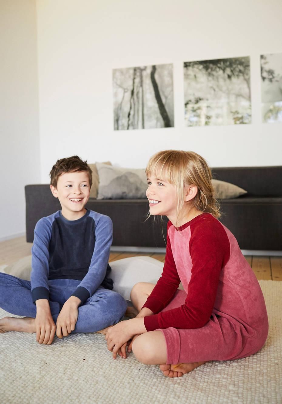Kinder Frottee-Pyjama aus reiner Bio-Baumwolle