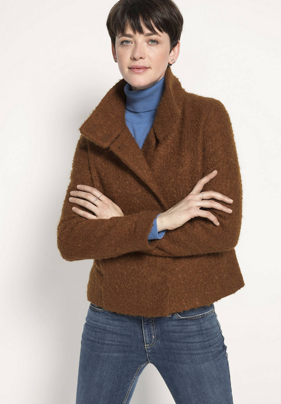 Kurz-Jacke aus Mohair mit Schurwolle