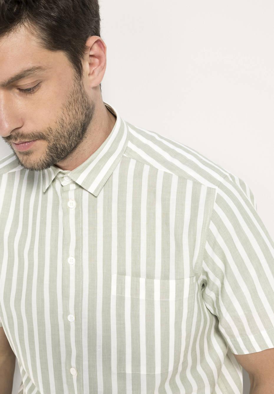 Kurzarmhemd Comfort Fit aus Bio-Baumwolle mit Leinen