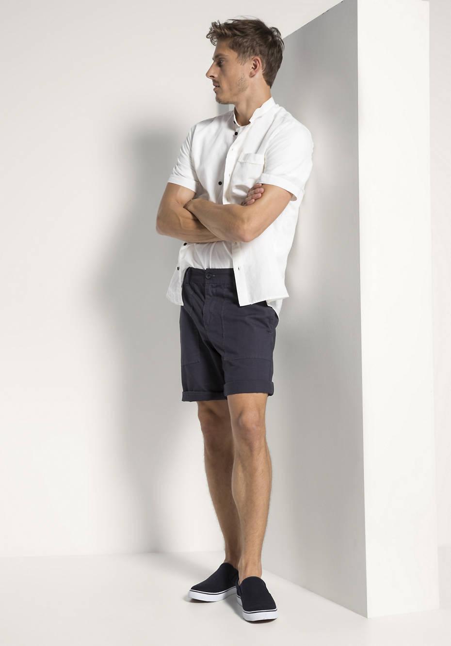 Kurzarmhemd Modern Fit aus Bio-Baumwolle mit Leinen