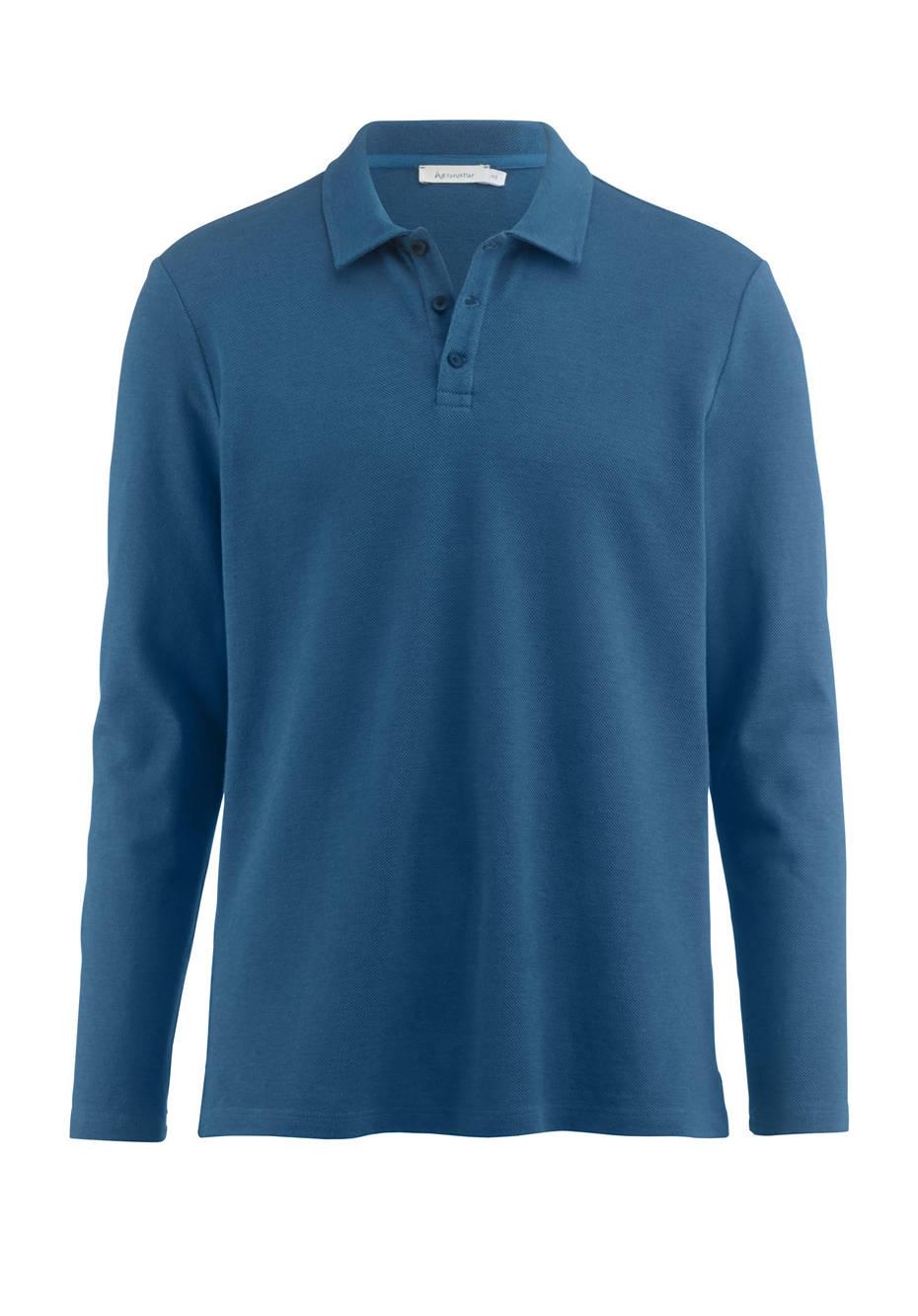 Langarm Poloshirt aus Leinen mit Bio-Baumwolle