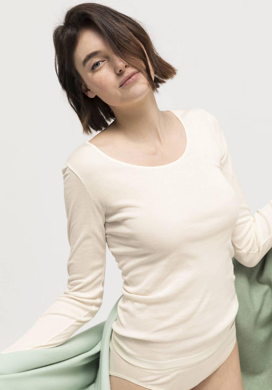 Langarmshirt aus Seide mit Bio-Baumwolle