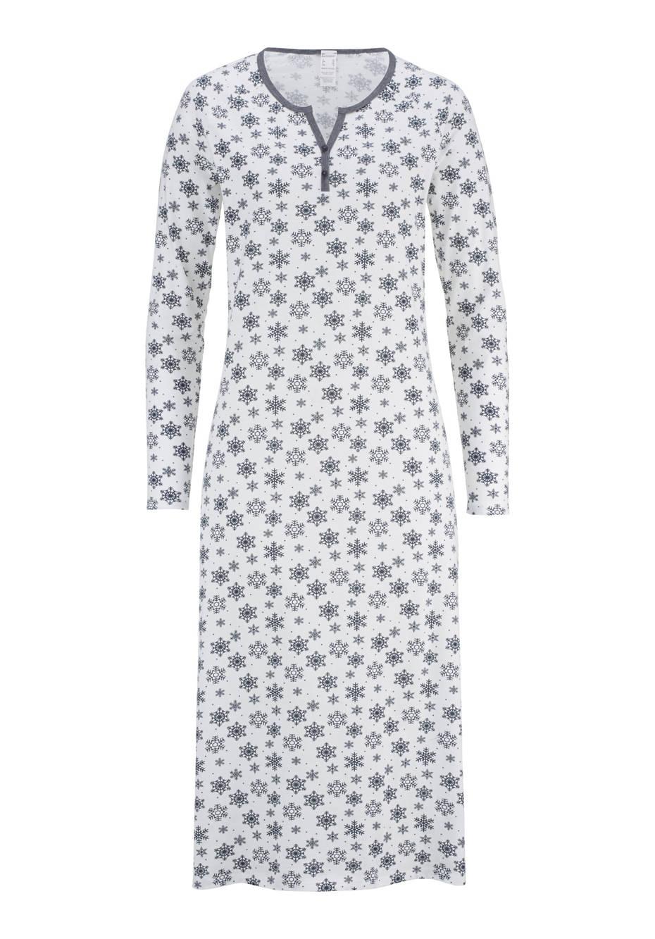 Langes Winter-Nachthemd aus reiner Bio-Baumwolle