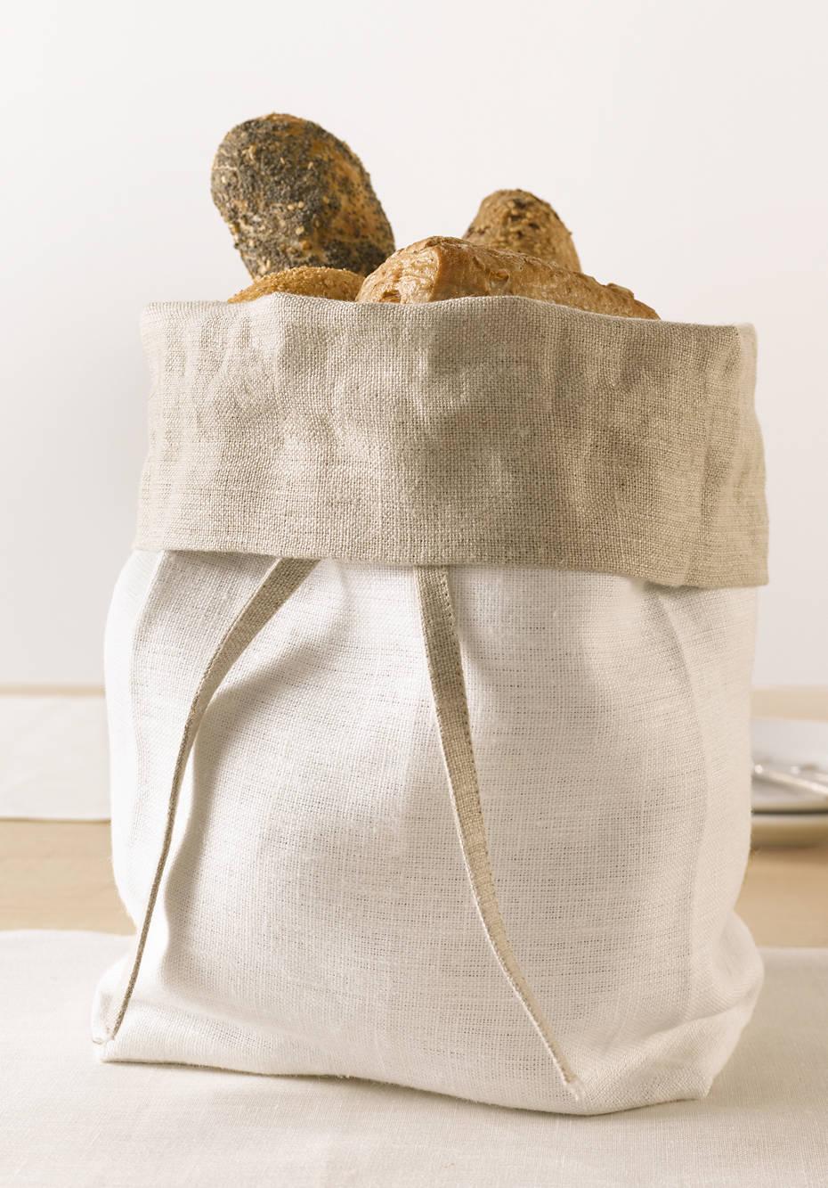 Leinen-Brotbeutel zum Wenden