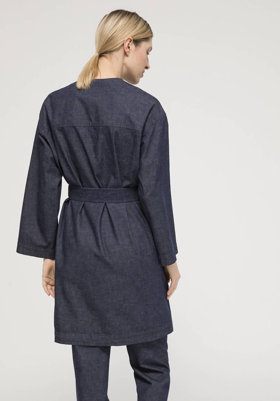 Light Denim Kimono aus Bio-Baumwolle mit Leinen
