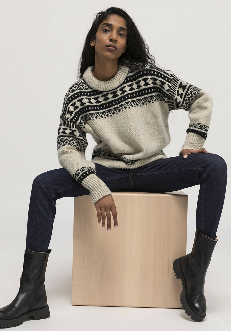 Limited by Nature jacquard sweater made of Mongolian merino with alpaca