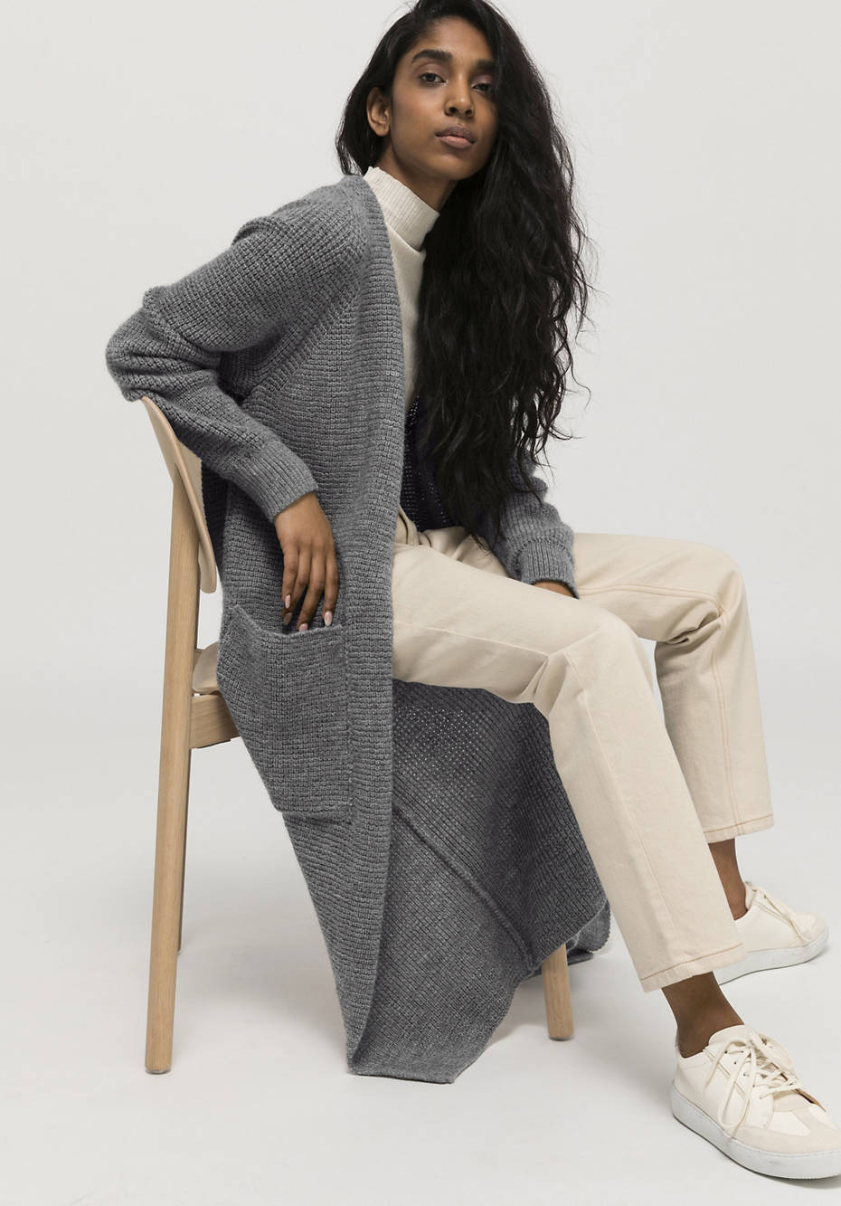Limited by Nature knitted coat made of organic new wool with alpaca