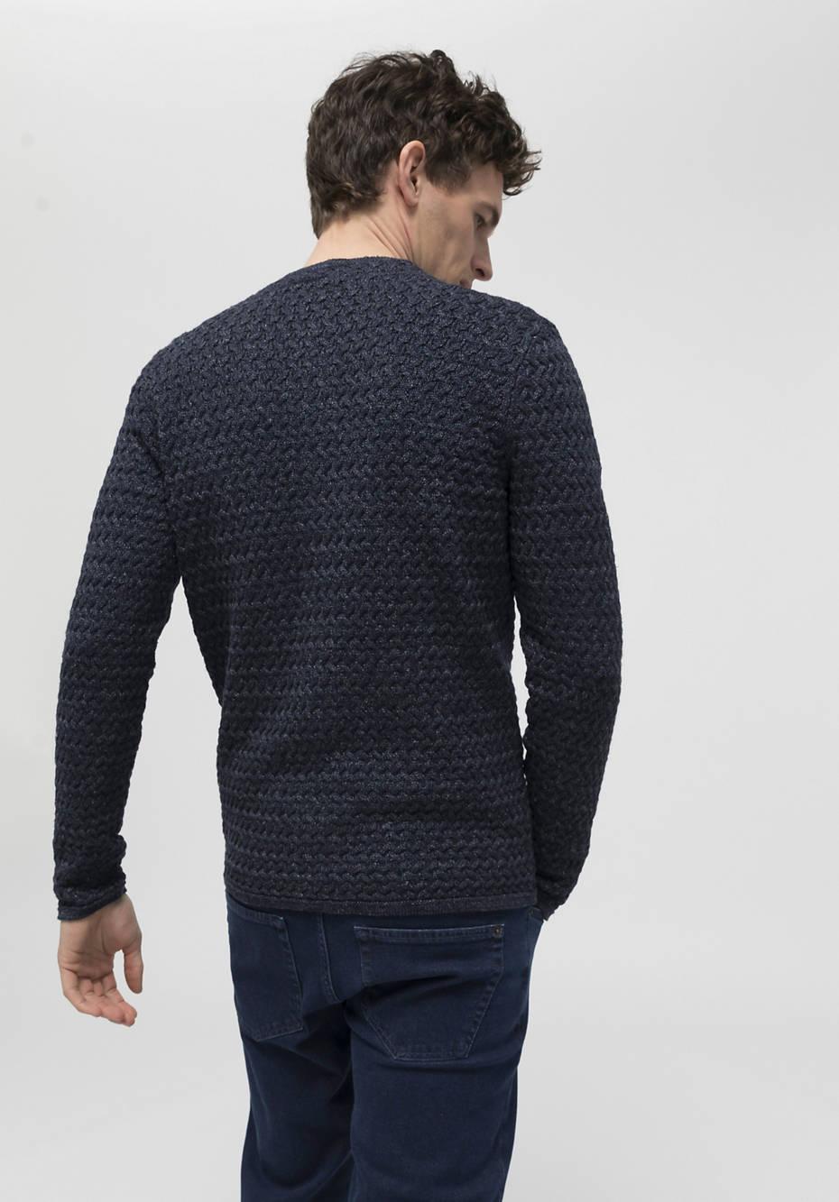Linen cardigan with virgin wool